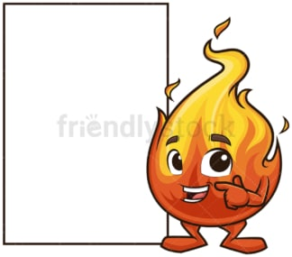 Flame mascot empty sign. PNG - JPG and vector EPS (infinitely scalable).