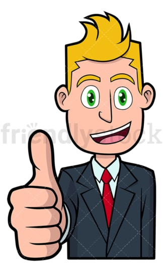 Happy businessman giving the thumbs up. PNG - JPG and vector EPS file formats (infinitely scalable). Image isolated on transparent background.