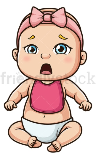 Hungry baby girl wearing bib. PNG - JPG and vector EPS (infinitely scalable).