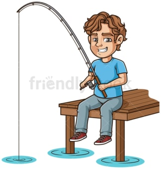 Man fishing from a dock. PNG - JPG and vector EPS (infinitely scalable).