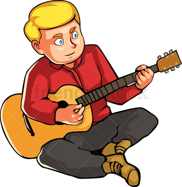 Man on the ground playing the guitar. PNG - JPG and vector EPS file formats (infinitely scalable). Image isolated on transparent background.