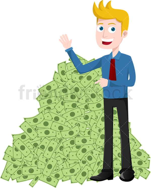 Man pointing to huge pile of money. PNG - JPG and vector EPS file formats (infinitely scalable). Image isolated on transparent background.