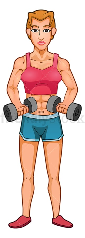 Muscular woman exercising with dumbbells. PNG - JPG and vector EPS (infinitely scalable).