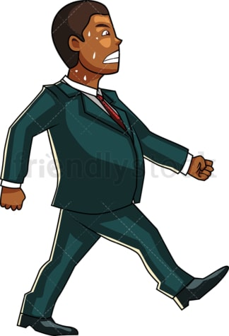 Overweight black man walking in sweat. PNG - JPG and vector EPS file formats (infinitely scalable). Image isolated on transparent background.