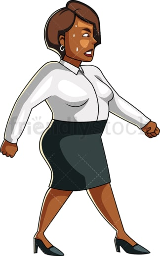 Overweight black woman walking in sweat. PNG - JPG and vector EPS file formats (infinitely scalable). Image isolated on transparent background.