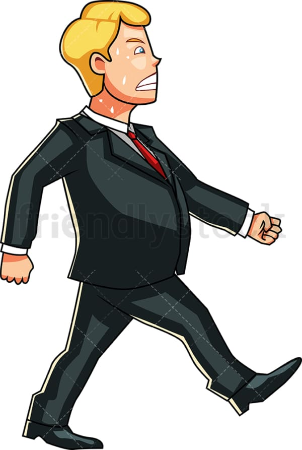 Overweight man sweating as he walks. PNG - JPG and vector EPS file formats (infinitely scalable). Image isolated on transparent background.