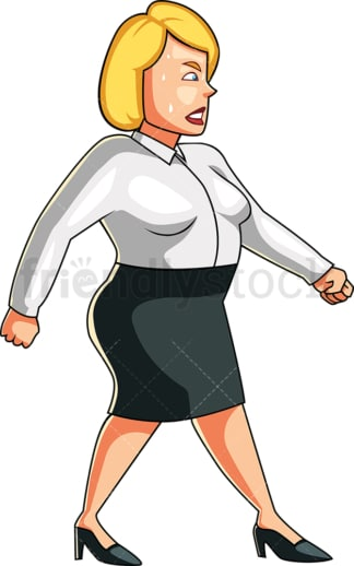 Overweight woman sweating as she walks. PNG - JPG and vector EPS file formats (infinitely scalable). Image isolated on transparent background.
