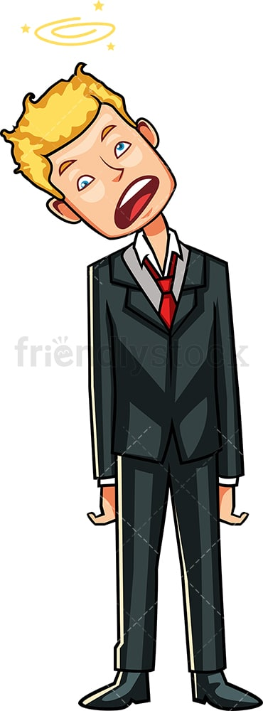 Overwhelmed businessman with head bent. PNG - JPG and vector EPS file formats (infinitely scalable). Image isolated on transparent background.