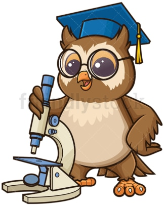 Owl biology teacher with microscope. PNG - JPG and vector EPS (infinitely scalable).