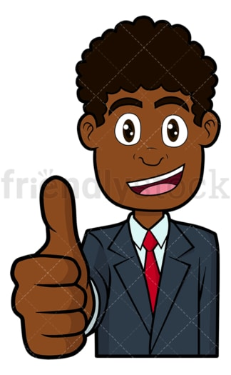 Pleased black businessman thumbs up. PNG - JPG and vector EPS file formats (infinitely scalable). Image isolated on transparent background.