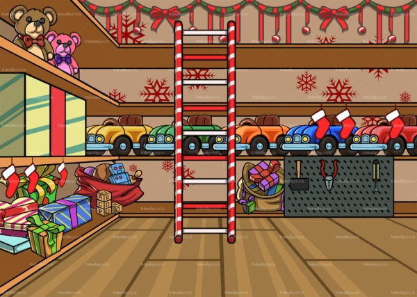 Santa's workshop in the north pole background. PNG - JPG and vector EPS file formats (infinitely scalable). Image isolated on transparent background.