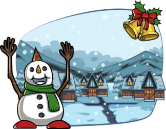 Snowman near village covered in snow. PNG - JPG and vector EPS file formats (infinitely scalable). Image isolated on transparent background.