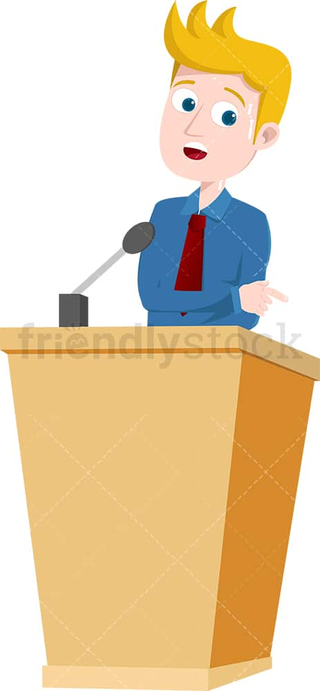 Uncomfortable man on podium. PNG - JPG and vector EPS file formats (infinitely scalable). Image isolated on transparent background.