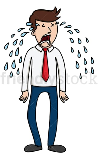 Wailing tears business man. PNG - JPG and vector EPS file formats (infinitely scalable). Image isolated on transparent background.