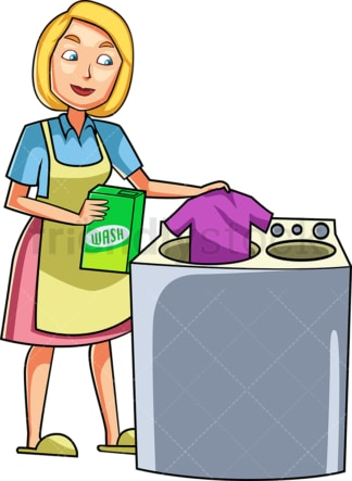 Woman doing the laundry. PNG - JPG and vector EPS file formats (infinitely scalable). Image isolated on transparent background.