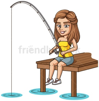 Woman fishing from a dock. PNG - JPG and vector EPS (infinitely scalable).