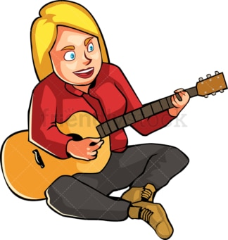 Woman on the ground playing the guitar. PNG - JPG and vector EPS file formats (infinitely scalable). Image isolated on transparent background.