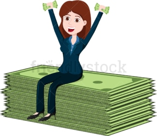 Woman sitting atop some huge money bills. PNG - JPG and vector EPS file formats (infinitely scalable). Image isolated on transparent background.