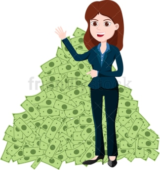 Woman standing in front of large pile of money. PNG - JPG and vector EPS file formats (infinitely scalable). Image isolated on transparent background.