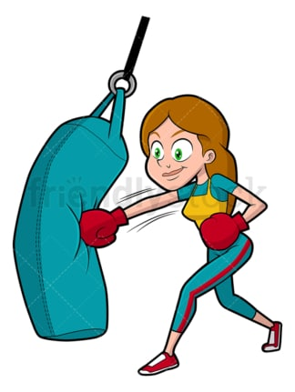 Woman working out with punching bag. PNG - JPG and vector EPS file formats (infinitely scalable). Image isolated on transparent background.