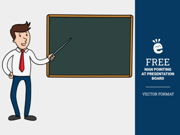 Liam Pointing At Presentation Board - Free Vector Graphic