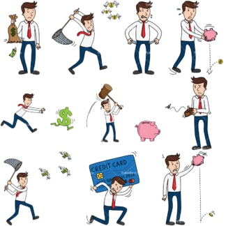 10 vector images of a businessman having financial trouble. PNG - JPG and vector EPS file formats (infinitely scalable).