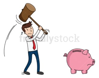 Business man about to smash piggy bank. PNG - JPG and vector EPS (infinitely scalable).