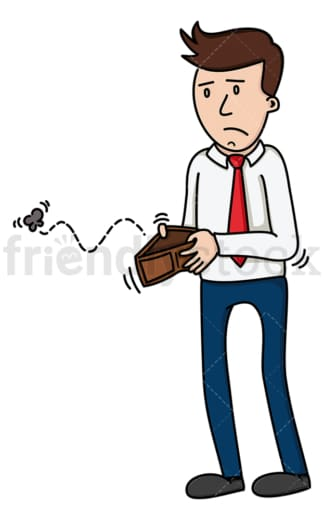 Man opening empty wallet. PNG - JPG and vector EPS (infinitely scalable).