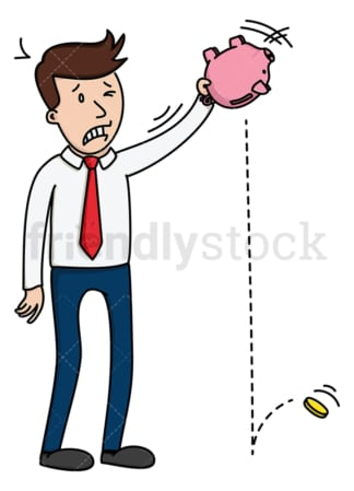 Man trying to shake money from piggy bank. PNG - JPG and vector EPS (infinitely scalable).