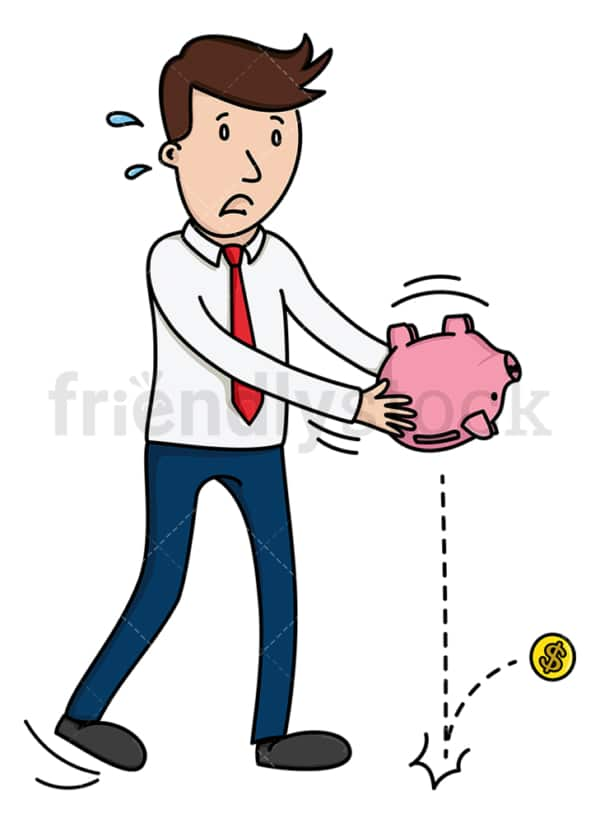 Businessman tapping into savings. PNG - JPG and vector EPS (infinitely scalable).