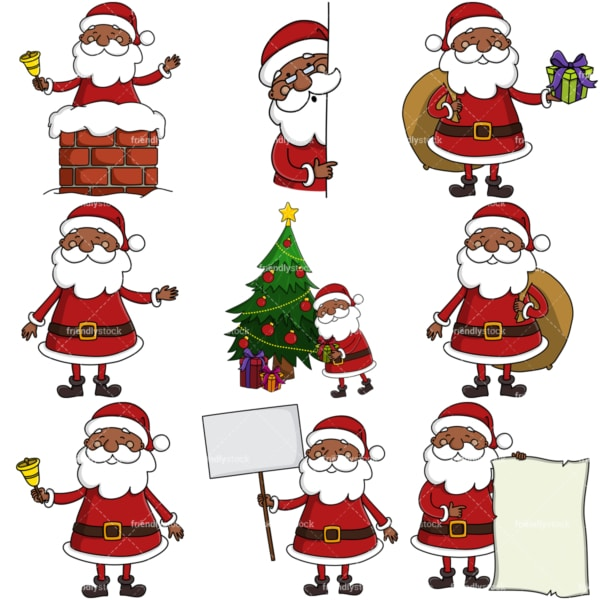 Black santa claus clipart bundle. PNG - JPG and infinitely scalable vector EPS - on white or transparent background.
