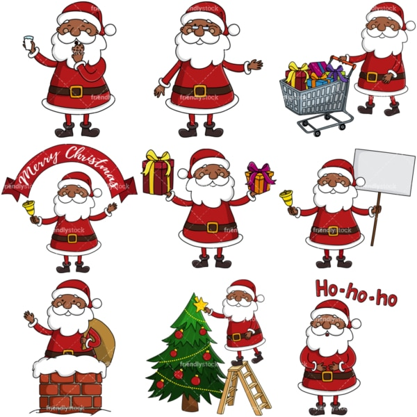 Black santa claus vector images bundle. PNG - JPG and infinitely scalable vector EPS - on white or transparent background.