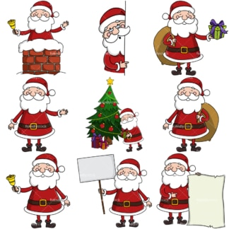 Cheerful santa claus vector bundle. PNG - JPG and infinitely scalable vector EPS - on white or transparent background.