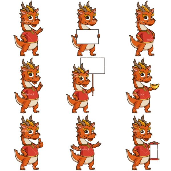 Chinese new year of the dragon cartoon character. PNG - JPG and infinitely scalable vector EPS - on white or transparent background.