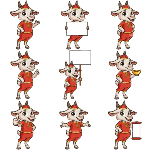 Chinese new year of the goat cartoon character. PNG - JPG and infinitely scalable vector EPS - on white or transparent background.