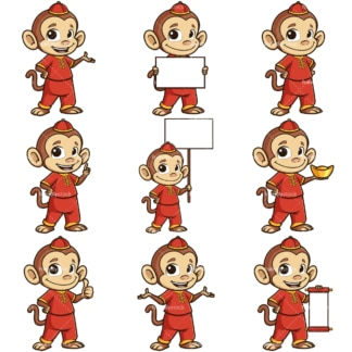 Chinese new year of the monkey cartoon character. PNG - JPG and infinitely scalable vector EPS - on white or transparent background.