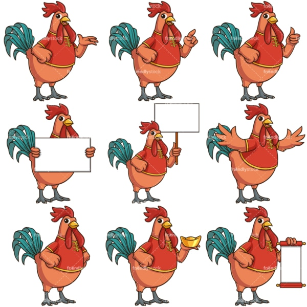 Chinese new year of the rooster cartoon character. PNG - JPG and infinitely scalable vector EPS - on white or transparent background.