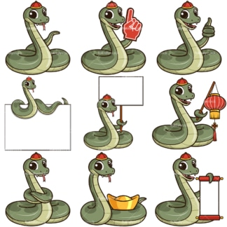 Chinese new year of the snake cartoon character. PNG - JPG and infinitely scalable vector EPS - on white or transparent background.