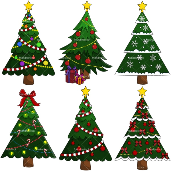 Christmas trees vector clipart bundle. PNG - JPG and vector EPS file formats (infinitely scalable).