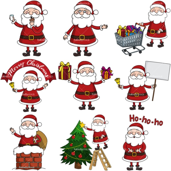 Cute santa claus clipart bundle. PNG - JPG and infinitely scalable vector EPS - on white or transparent background.