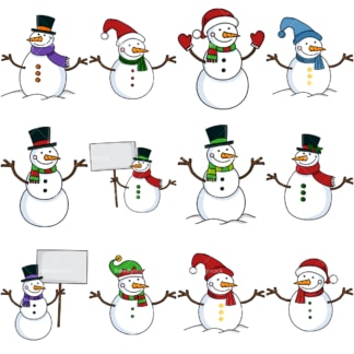 Cute snowmen vector clipart bundle. PNG - JPG and vector EPS file formats (infinitely scalable). Images isolated on transparent background.