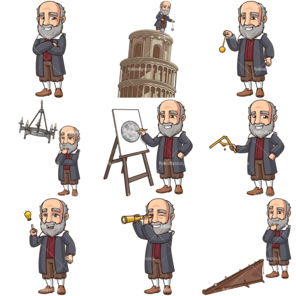 Galileo galilei vector graphics bundle. PNG - JPG and infinitely scalable vector EPS - on white or transparent background.