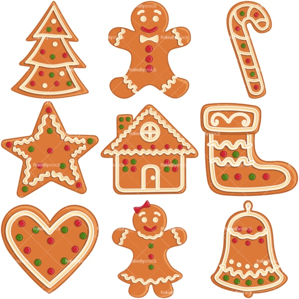 Gingerbread cookies. PNG - JPG and infinitely scalable vector EPS - on white or transparent background.