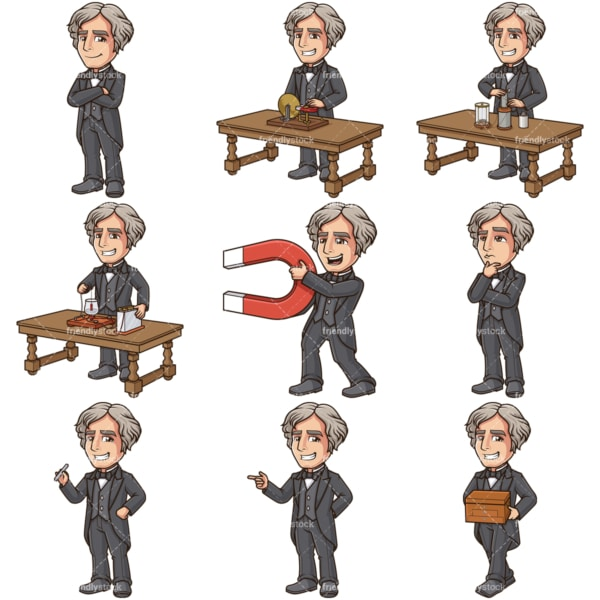 Michael faraday vector graphics bundle. PNG - JPG and infinitely scalable vector EPS - on white or transparent background.