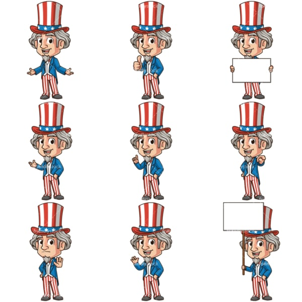 Uncle sam cartoon character. PNG - JPG and infinitely scalable vector EPS - on white or transparent background.