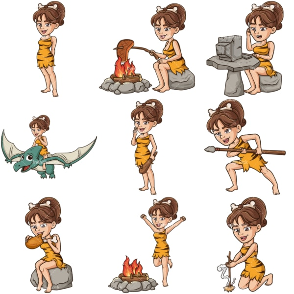 Vector cavewoman cartoon character bundle. PNG - JPG and infinitely scalable vector EPS - on white or transparent background.