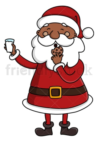 Black santa claus eating cookies. PNG - JPG and vector EPS (infinitely scalable).