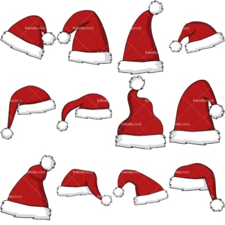 Christmas santa hat clipart bundle. PNG - JPG and vector EPS file formats (infinitely scalable). Image isolated on transparent background.