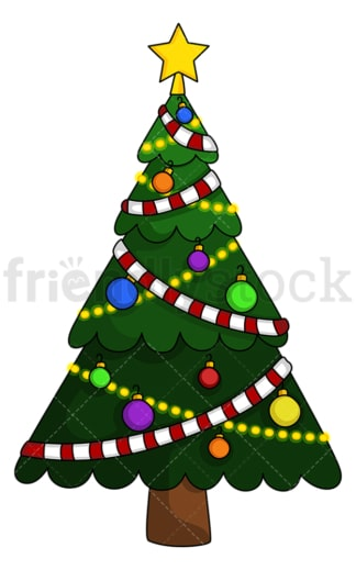 Christmas tree with garland. PNG - JPG and vector EPS (infinitely scalable).