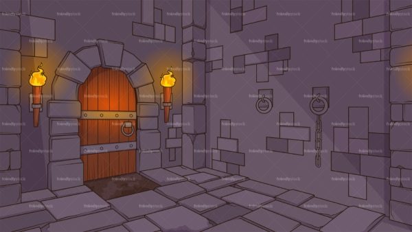 Medieval dungeon background in 16:9 aspect ratio. PNG - JPG and vector EPS file formats (infinitely scalable).